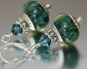 rainforest lampwork earrings