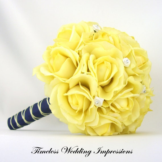 Wedding Flowers Yellow Roses: Items Similar To Yellow Wedding Bouquet Bridal Roses Navy
