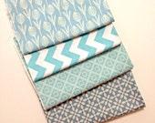 DESTASH - Aqua Fabric Remnant bundle