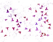 flock birds in purple/violet  -Watercolor-bird painting-Archival Print from my original watercolor painting 14x11 inch