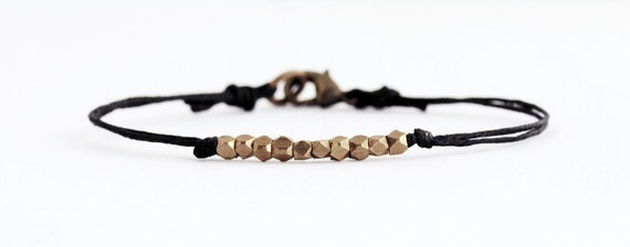 Brass Nuggets Bracelet on Black Irish Waxed Linen - Simple Minimalist Geometric Jewelry