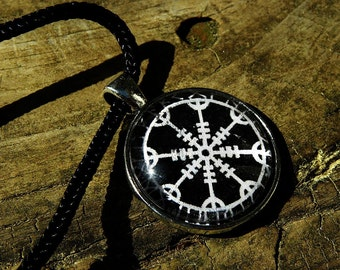 Rune Wheel of the Year Norse Pagan Glass Pendant Necklace