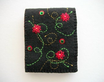 Black Needle Book Felt Sewing Notion with Red Hand Embroidered Flowers Handsewn