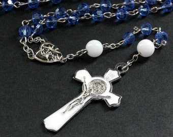 Catholic Rosary in Sky Blue Crystals, White and Silver. Crystal Rosary. Blue Rosary. Handmade Rosary.