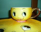 Vintage 1950's Anthropomorphic Yellow Lemon Plate and Tea Cup Set