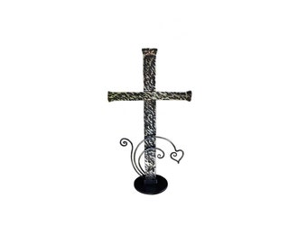 "Table Top Cross 20"" ( black and clear)"