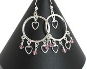 Silver Heart & Swarovski Crystal Chandelier Earrings, Valentines Day Gifts for Women Mom Wife Sister Daughter Under 20, Stocking Stuffers