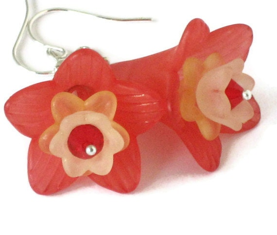 Red Flower Earrings, One of a Kind, Gifts for Women Mom Wife Sister Daughter Grandma Under 20, Stocking Stuffers