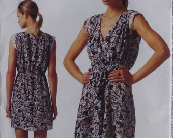 Vogue American Designer Rebecca Taylor Pattern V1344 Pleated Pullover Dress with Front Overlay  Sizes 14-22