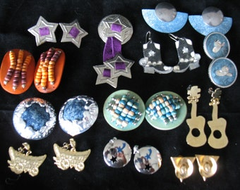 Destash Lot of 12 Vintage Jewelry Items - Country Cowgirl Theme - Earrings, Pin, Collar Points