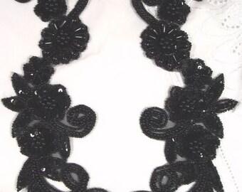 0183 Black  Mirror Pair Sequin Beaded Appliques  0183-bk