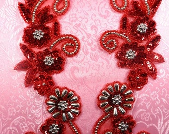 "0183 Appliques Red and Silver Mirror Pair Sequin Beaded 10""  (0183X-slrd2)"