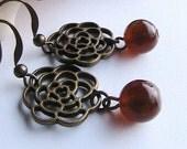 Antique Brass Rose Earrings - Dangle,  Antique Brass, ornate rose, flowers, amber, brown cat eye bead