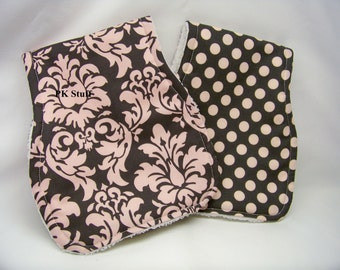 Contoured Burp Cloth in Dandy Damask in Bloom - Shoulder Cloth - Set of Two - Ready To Ship
