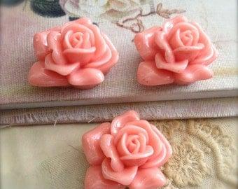 Rose Cabochon Beads Large Peach Shabby Retro Destash Supplies