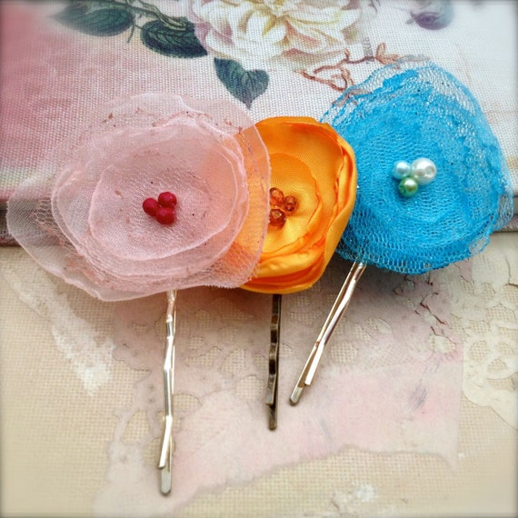 Tattered Flower Bobby Pins Set of 3 - Hair Pins in Pastel Pink, Turquoise Blue, Orange SALE