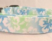 Tropical Hawaiian Turquoise Blue and Green Hibiscus Dog Collar