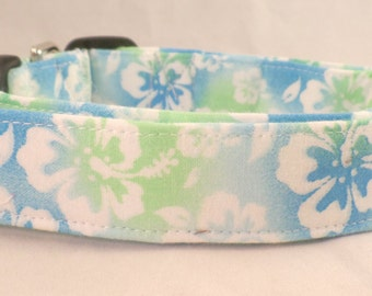 Tropical Hawaiian Turquoise Blue and Green Hibiscus Dog Collar
