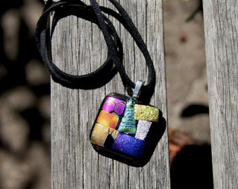 Fused Glass Pendant - Dichroic Rainbow Mosaic