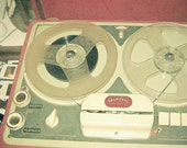 Old Times - Reel to reel photography, vintage style decor, gift for him, red brown, grey, cream, retro wall decor