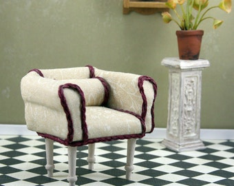 Doll House Miniature Upholstered Chair, Tan Floral with Maroon trim, Item 10-01-002