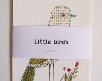"Little BIRDS cards size 4x6 "" 10,5x15cm"