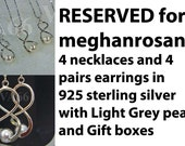Reserved for meghanrosante Bridesmaids Set of 4 Light Grey Swarovski Pearls 4 necklaces 4 earrings 925 sterling silver Twist Feng Shui No. 8