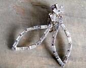 Vintage Baguette Rhinestone Dangle Earring Clip On Wedding Glamour