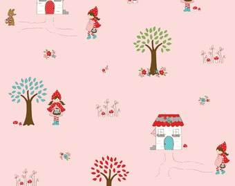 OOP HTF 32 inches Little Red Riding Hood by Riley Blake Fabric Grandmothers House In The Forest With Wolf on Pink