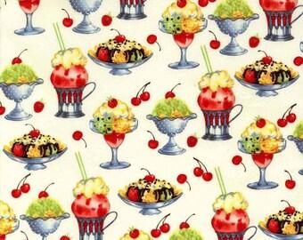 oop htf one yard 5 in Michael Miller  Sundaes Fabric Hot Fudge Sundae Banana Split Ice Cream with Cherry on Top rare