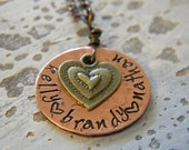 Hand stamped, personalized necklace for mother or grandmother with heart