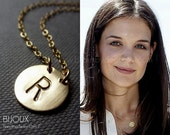 Initial Disc Gold Necklace - Celebrity Style - 14K Goldfilled, Choose your Initial