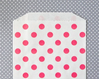 Pink Polka Dot Goody Bags, Pink Favor Bags, Pink Dot Treat Bags (20) - 5 x 7.5 inches