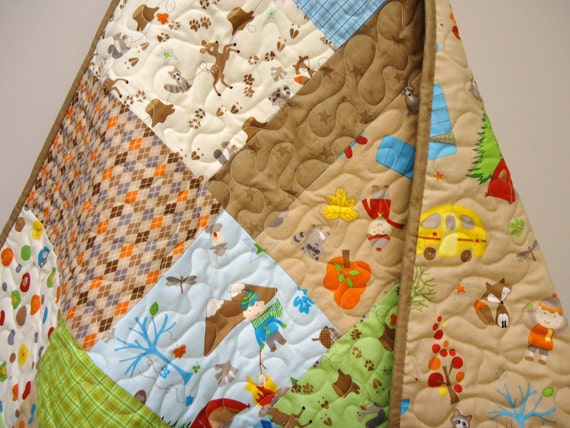 Toddler Quilt Baby Boy Quilt Fox Trails Modern By