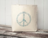 CLEARANCE ~ World Peace - Typography Tote Bag - Black or Natural Canvas Bag - Carryall Tote - School Bag - LAST ONE