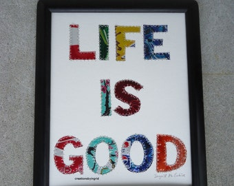 Tin Anniversary - Life Is Good  - Beer Can Collage - Original 8 x 10 -  Mixed Media - Children Art
