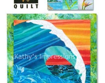 Surf the WAVE AT PIPELINE - Hawaii Ana Batik Applique Ocean Surfing Quilt Pattern