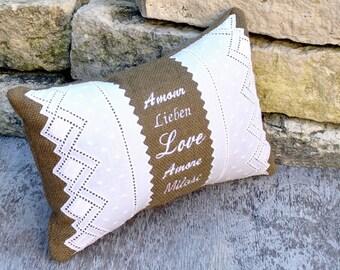 Burlap Pillow Love in Many Languages- Burlap