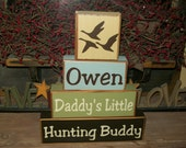 New Four PIece Daddy's Little Hunting Buddy Wood Sign Blocks Personalized Kids' Names Deer Ducks