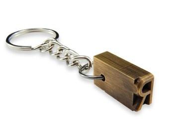 Personalized Keychain - Initial Letter Brass Letterpress Keychain