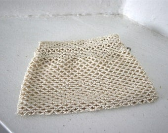 Vintage 1930s Cream Czech Beaded Dance Change Purse