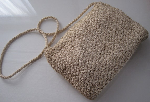 Cream Woven Purse with Shoulder Strap Fully Lined