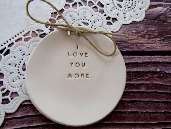 Ring bearer pillow alternative, I love you more Wedding ring bearer Ring dish Alternative Wedding Ring pillow