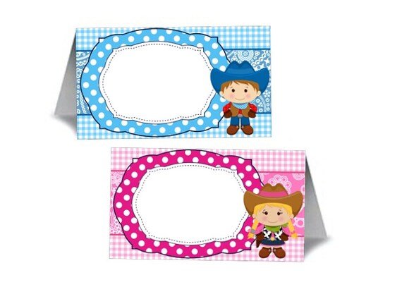 12 Blank Tent Style Name Cards, Food Labeling Cards,  Baby Gender Reveal Party, Baby Shower, Western Theme, Cowboy, Cowgirl