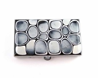 Rectangle Metal Pill Box Hand Painted Enamel Black and White Mod Inspired Custom Colors and Personalized Options