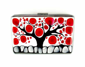 Large Metal Accordion Wallet with Organizer Hand Painted Enamel Tree of Life Inspired Metal Wallet Custom Colors and Personalized Options