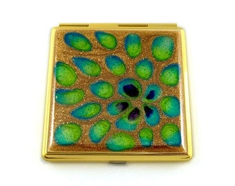 Square Compact Mirror Hand Painted Enamel Flower Peacock Inspired Custom Colors and Personalized Options
