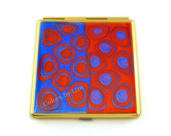Square Compact Mirror Hand Painted Enamel Orange and Blue Mod Inspired with Personalized and Color Options