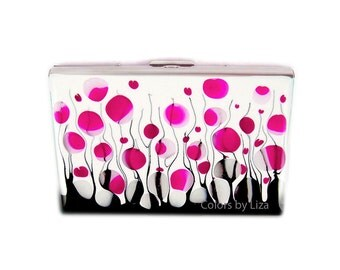 Accordion Wallet Card Organizer Hand Painted Enamel Credit Card Case Fuchsia Black and White Blossom Inspired with Personalized Options