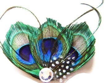Sweet LILA Peacock  Rhinestone Hair Clips Wedding Party Bridesmaids